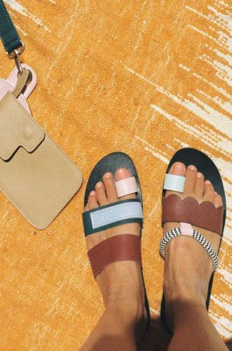 Mismatched Leather Abstract Sandals