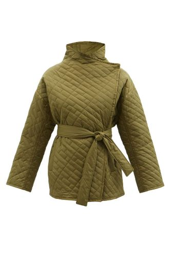 Green Wrap Front Padded Recycled Nylon Jacket