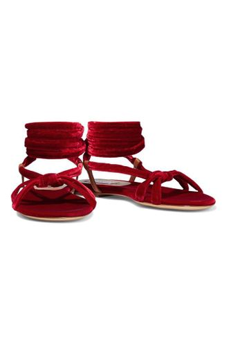 Reeves Lace Up Knotted Velvet Sandals