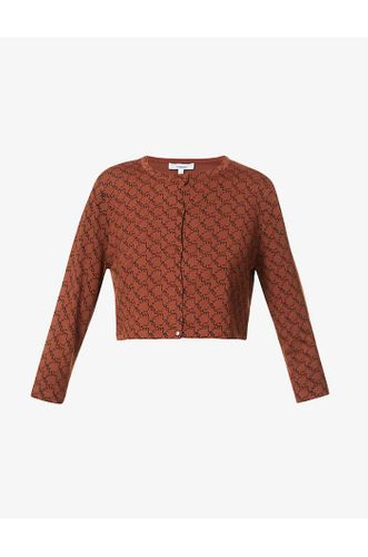 Branded Cropped Stretch Woven Cardigan