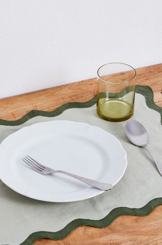 100% Linen Scalloped Placemats in Sage & Olive