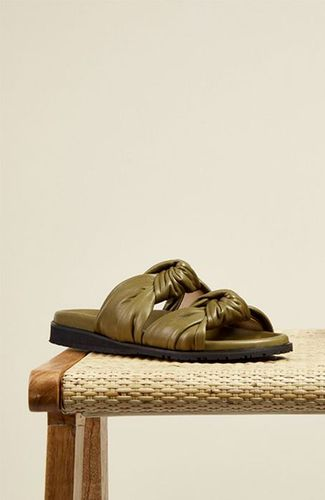 Tye Slide Sandals in Olive