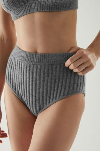 Recycled Cashmere High Waist Ribbed Panties - Gray