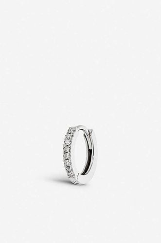 Medium diamond and 9ct white gold huggie hoop earring
