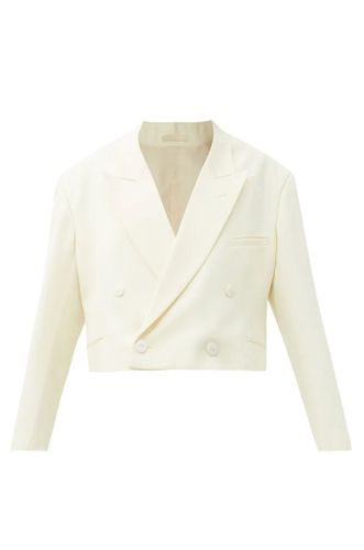 White Cropped Double Breasted Wool Tux Jacket