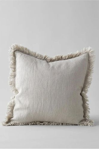 Soft Natural Colored Linen Pillow with Fringed Edge