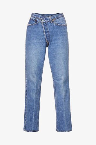 Cross Over Straight Leg Mid Rise Jeans