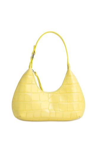 Baby Amber Croc Embossed Leather Bag in Custard