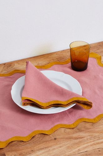 100% Linen Scalloped Napkins in Pink Clay & Tumeric