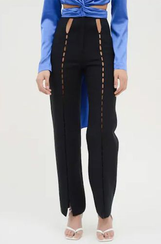 High Waist Twill Pants with Cutouts