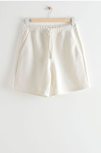Relaxed Drawstring Organic Cotton Shorts in White