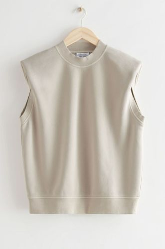 Relaxed Padded Shoulder Organic Cotton Top in Mole
