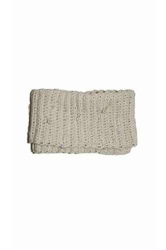 Knited Clutch with Crystal Details in Cream