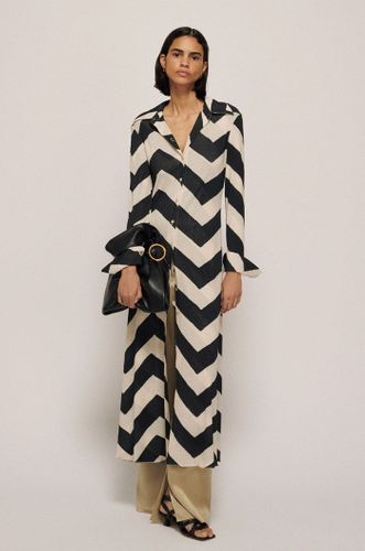 Clarisa Mesh Jersey Dress - Chevron