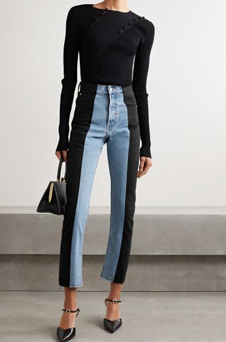Light Denim Two Tone High Rise Denim - Black Panel
