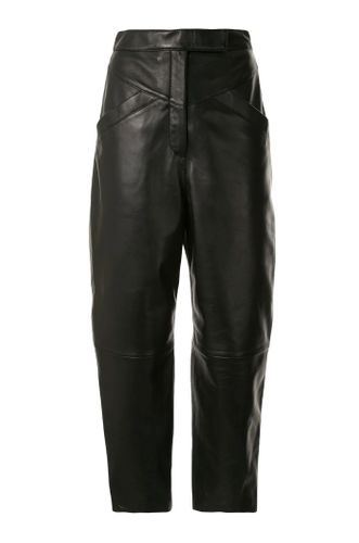 Black Cropped Panneled Leather Trousers