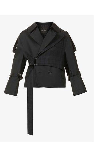 Cropped Cotton and Wool Trench Coat