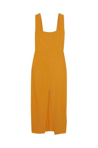 Graciella split-front crepe midi dress