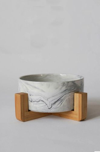 Mid Century Modern Dog Bowl - Marble
