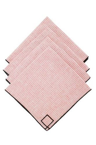 Set of Four Red Striped Linen Napkins
