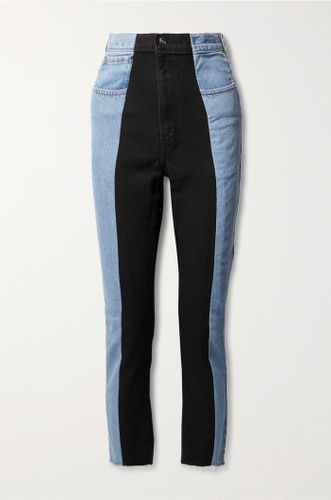 Light Denim Two Tone High Rise Denim - Black Middle