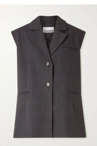 Charcoal Oversized Prince of Wales Checked Women Vest