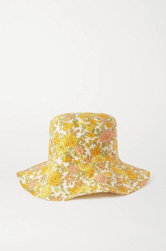 Bettina floral-print linen sunhat
