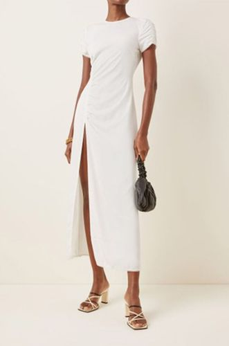Magnolia Ruched Crepe Maxi Dress