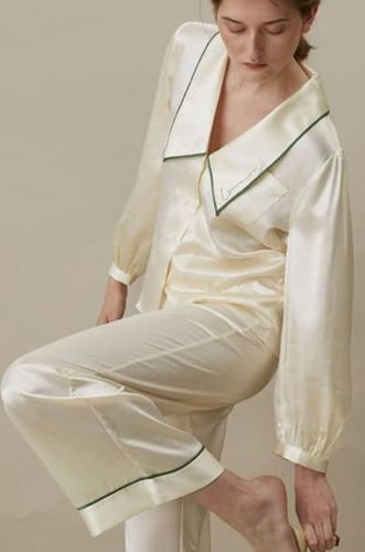 Long Pajama Suit Pearl White
