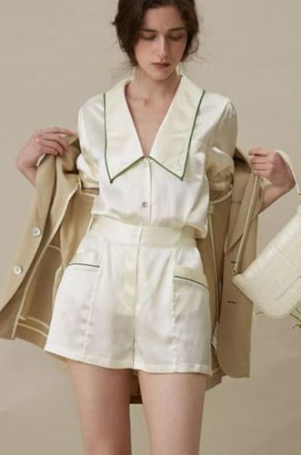 Short Pajama Suit Pearl White