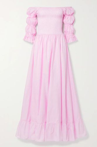 Baby Pink Lora Off-The-Shoulder Fil Coupé Cotton and Silk Blend Maxi