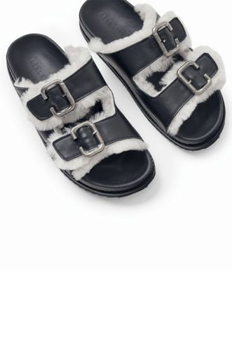 Shen Sandal with Shearling - Black/White