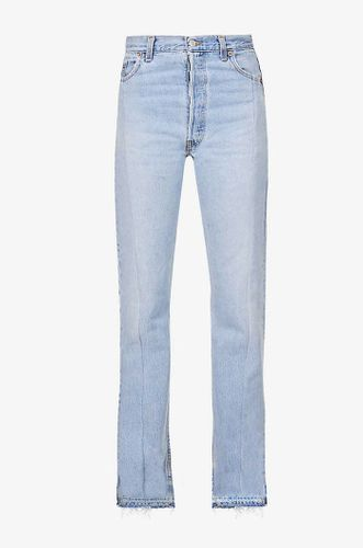 Unraveled Split Hem Straight Leg High Rise Jeans
