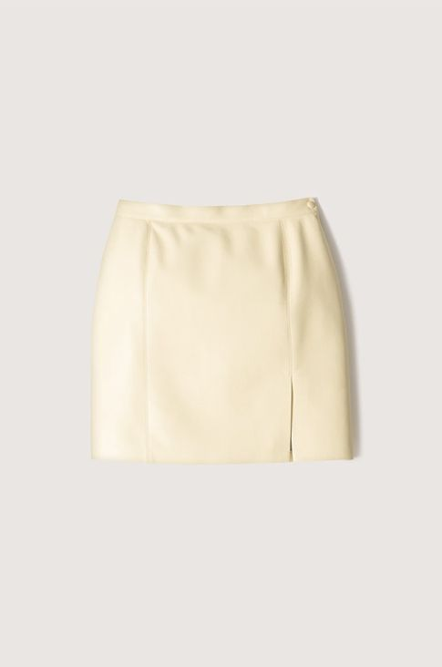 Nanushka Yellow Regenerated Leather Skirt.jpg