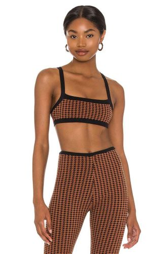 Cropped Tank in Brown Houndstooth