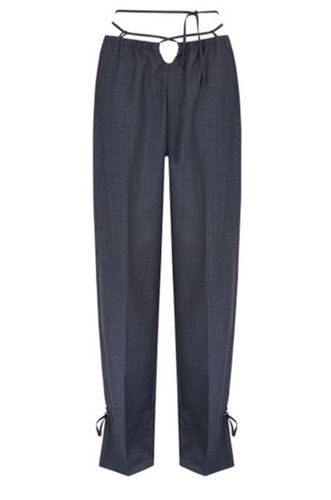 Baojin Ruched Tie-Accented Woven Straight Leg Upcycled Pants