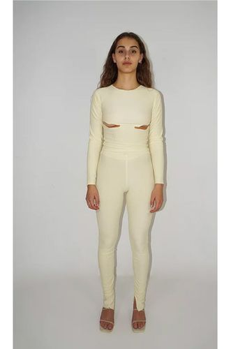 Knitted Cut Out Ribbed Top in Cream