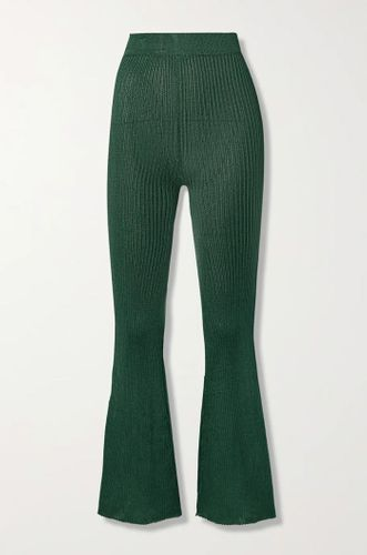 Forest Green Ribbed Knit Flared Pants