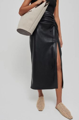 Malorie Ruched Vegan Leather Skirt in Black