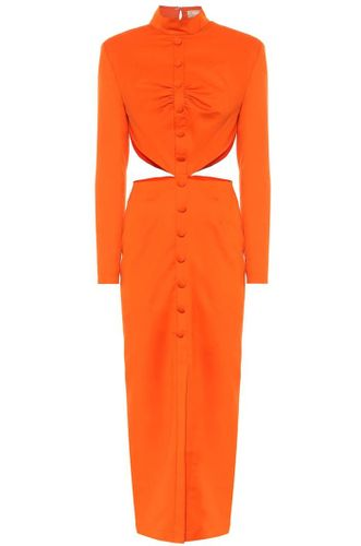 Cutout Woven Midi Dress - Orange