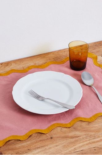100% Linen Scalloped Placemats in Pink Clay & Tumeric
