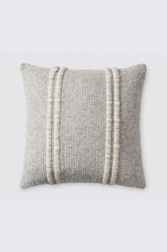 Grey Accent Pillow with Textured Stripes