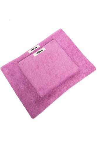 Two Piece Logo Patch Towel Set in Pink