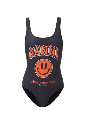 Smiling Face Print Recycled Fibre Swimsuit