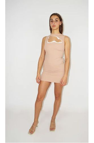 Recycled Elastic Crepe Dress with Abstract Cut Out in Pink