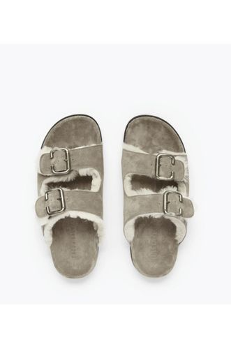 Shen Sandal with Shearling - Sand/White