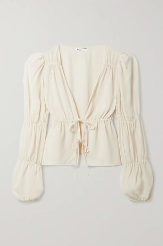 Cream Hearthrob Tie Front Gathered Georgette Blouse
